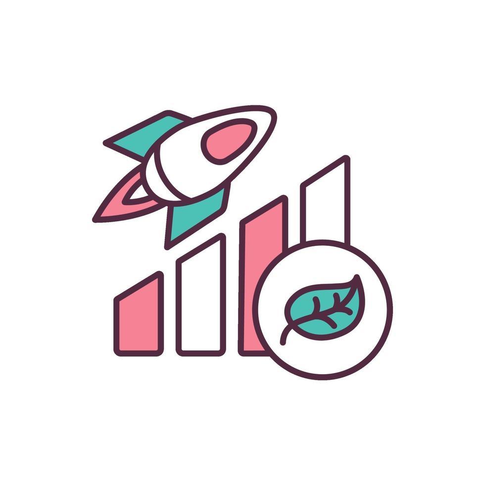 ícone de cor rgb de melhoria de sustentabilidade ambiental vetor