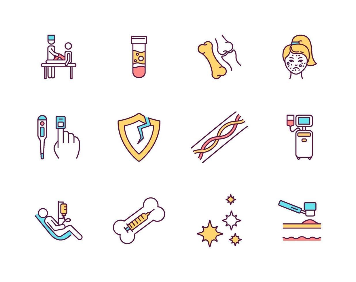 conjunto de ícones de cores rgb de procedimentos médicos vetor
