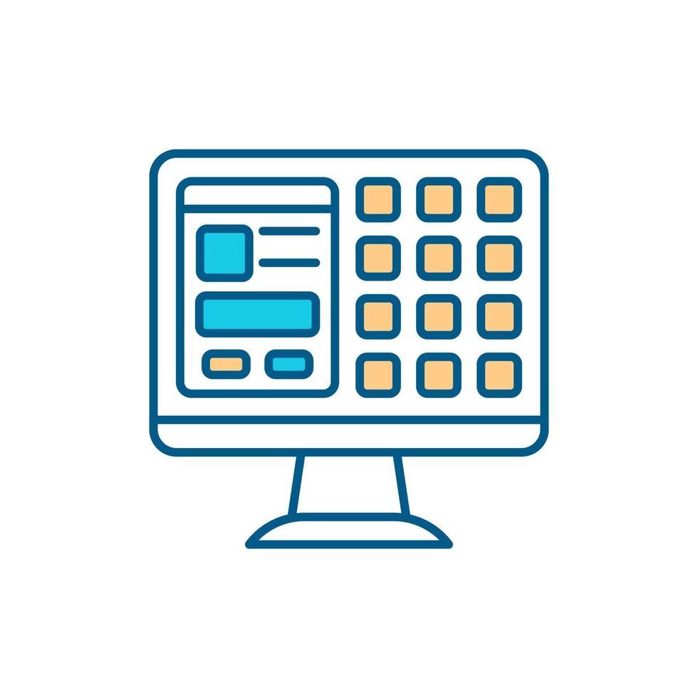 ícone de cor rgb do sistema do computador vetor