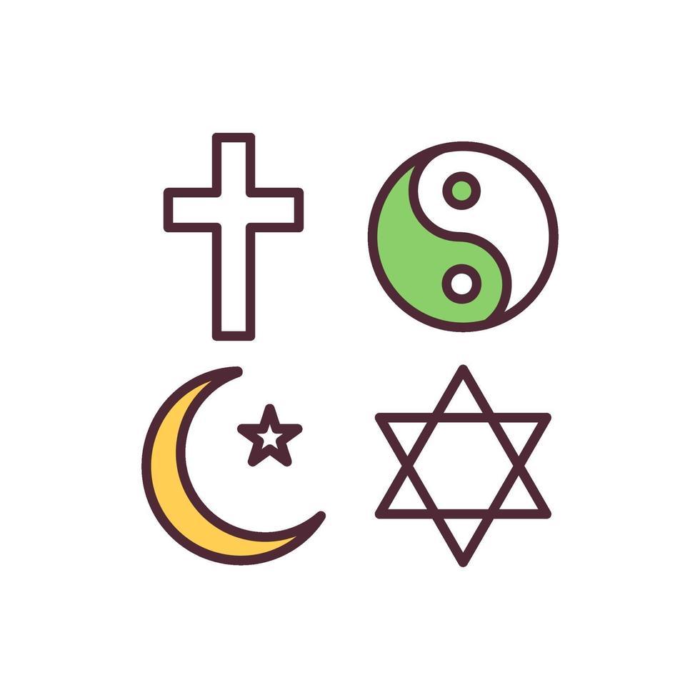 ícone de cor rgb de liberdade religiosa vetor