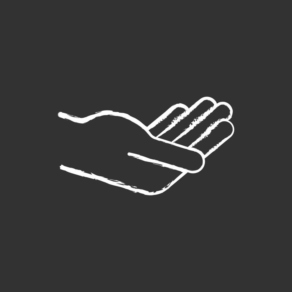 mão segurando algo ícone de giz branco sobre fundo preto. vetor