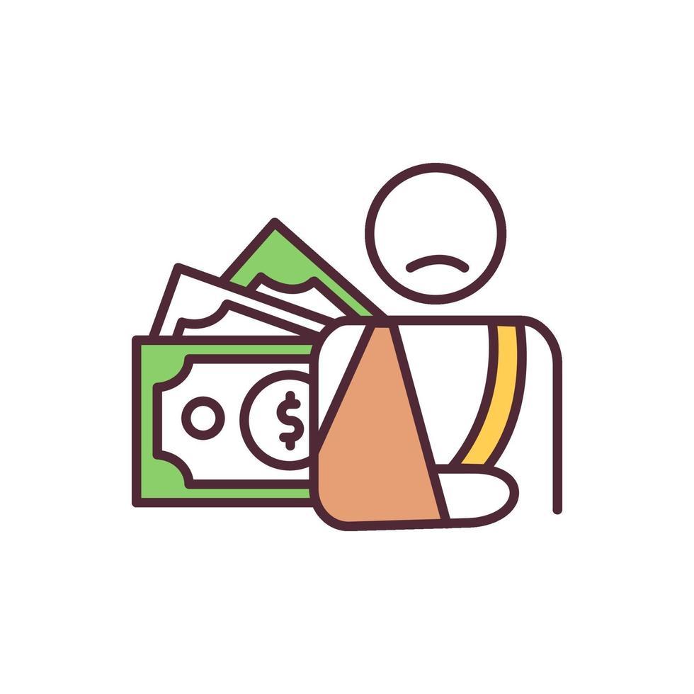 ícone de cor rgb de compensação de deficiência vetor