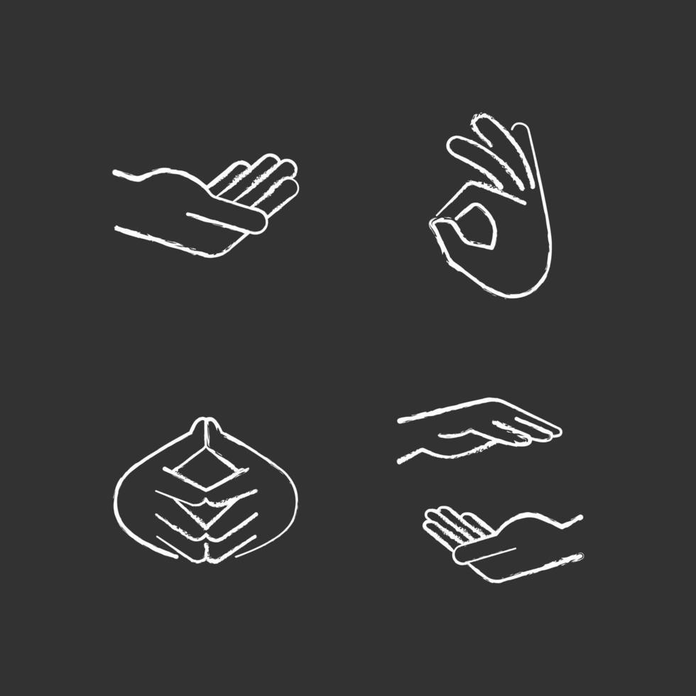 ícones brancos de giz com gestos de mão em fundo preto vetor