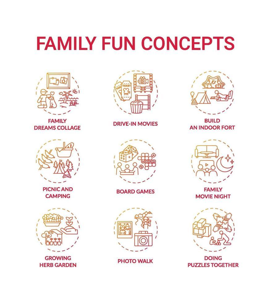 conjunto de ícones de conceito de diversão para a família vetor