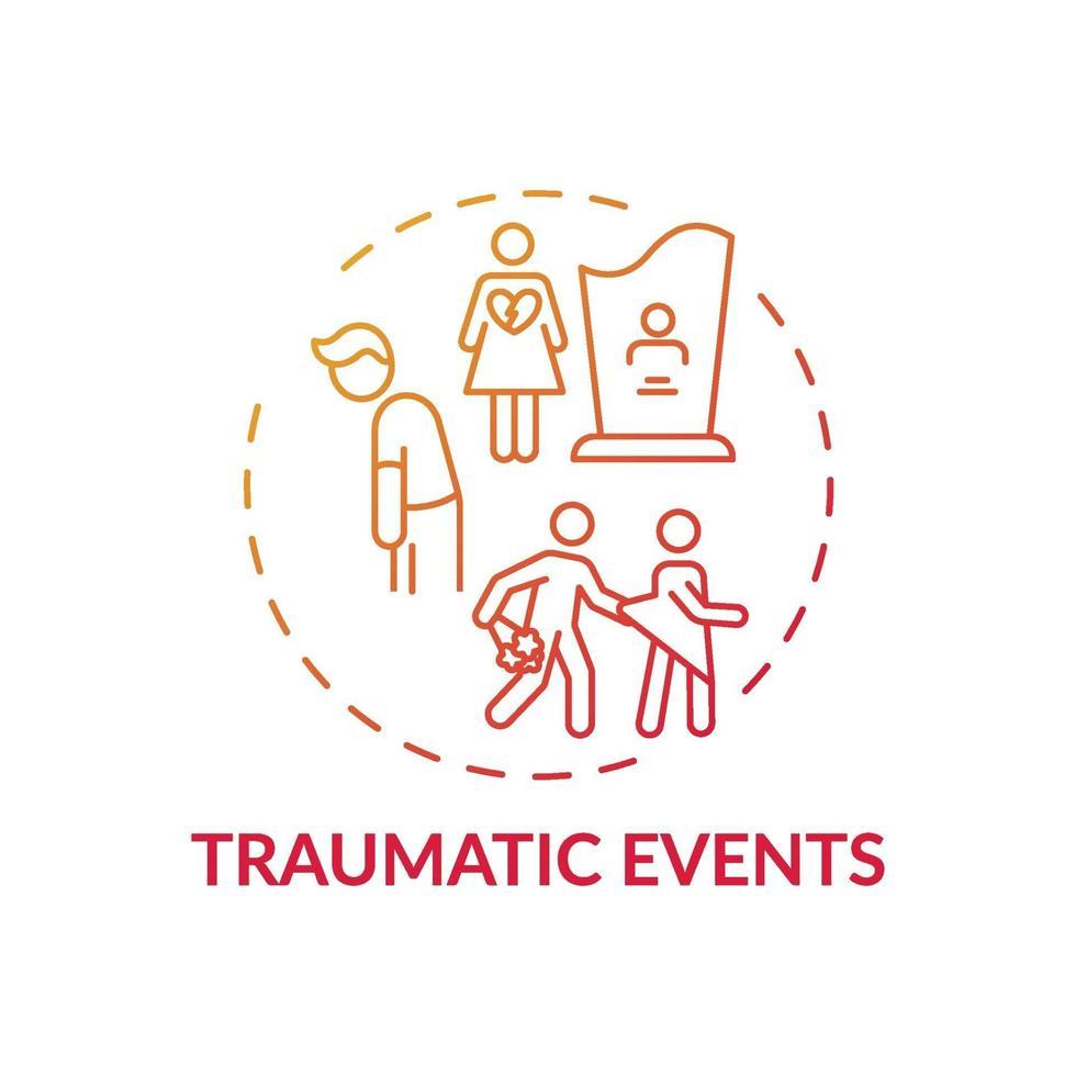 ícone do conceito de eventos traumáticos vetor