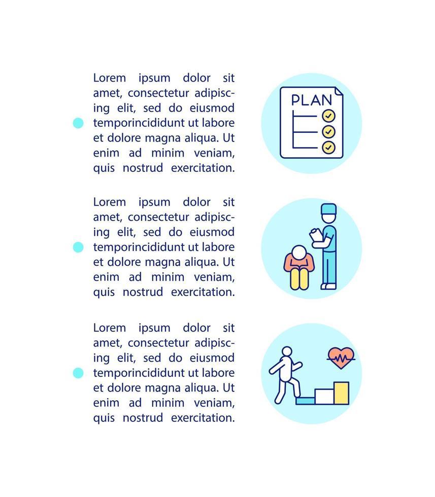 ícone do conceito de programas de reabilitação e autogerenciamento com texto vetor