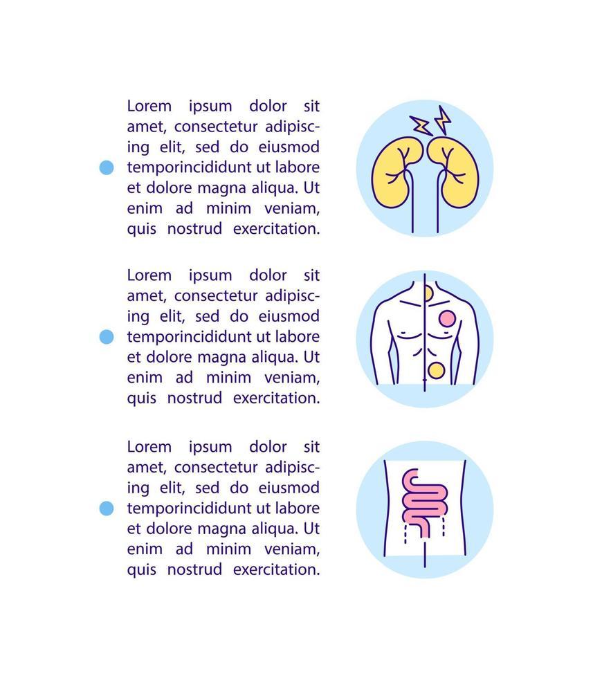 Ícone do conceito de complicações renais e dermatológicas com texto vetor