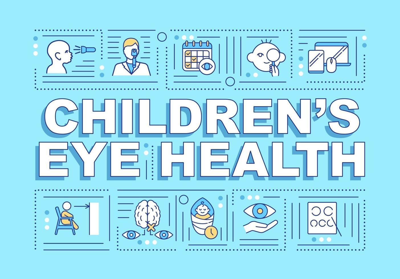 saúde ocular de crianças palavra conceitos banner vetor