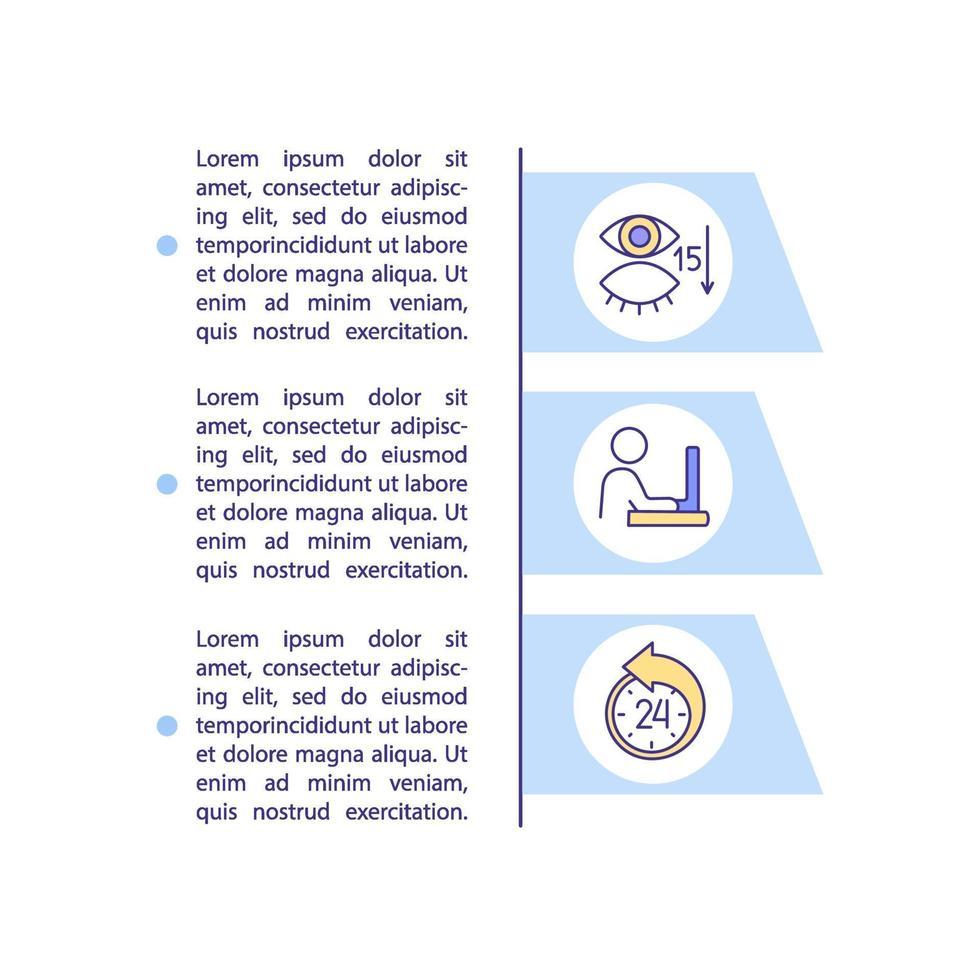 causas de olhos digitais distorcem o ícone do conceito com texto vetor