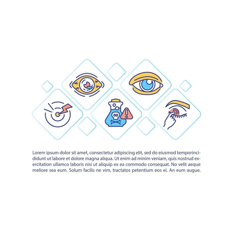 ícone do conceito de saúde dos olhos com texto vetor