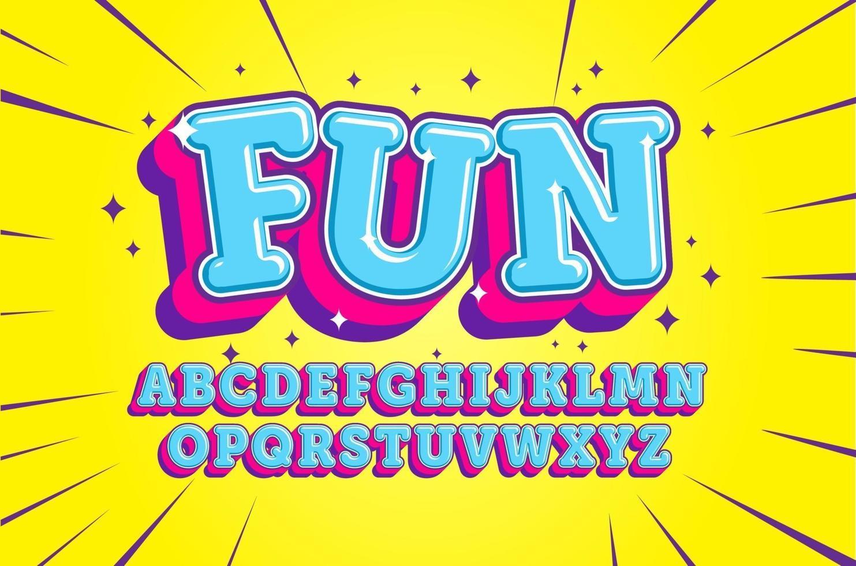 alfabeto de desenho animado divertido vetor