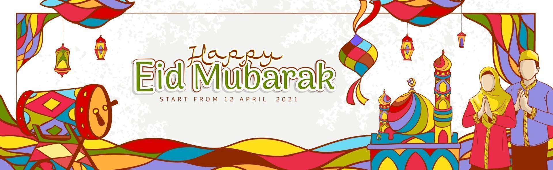 ilustração de ramadan kareem desenhada à mão com ornamentos islâmicos coloridos vetor