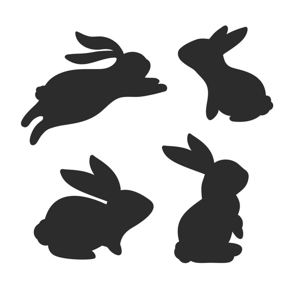 conjunto de silhueta de coelho vetor