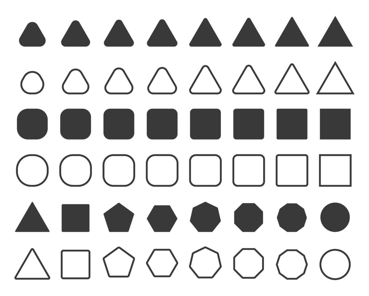 conjunto de forma quadrada de triângulo circular simples vetor