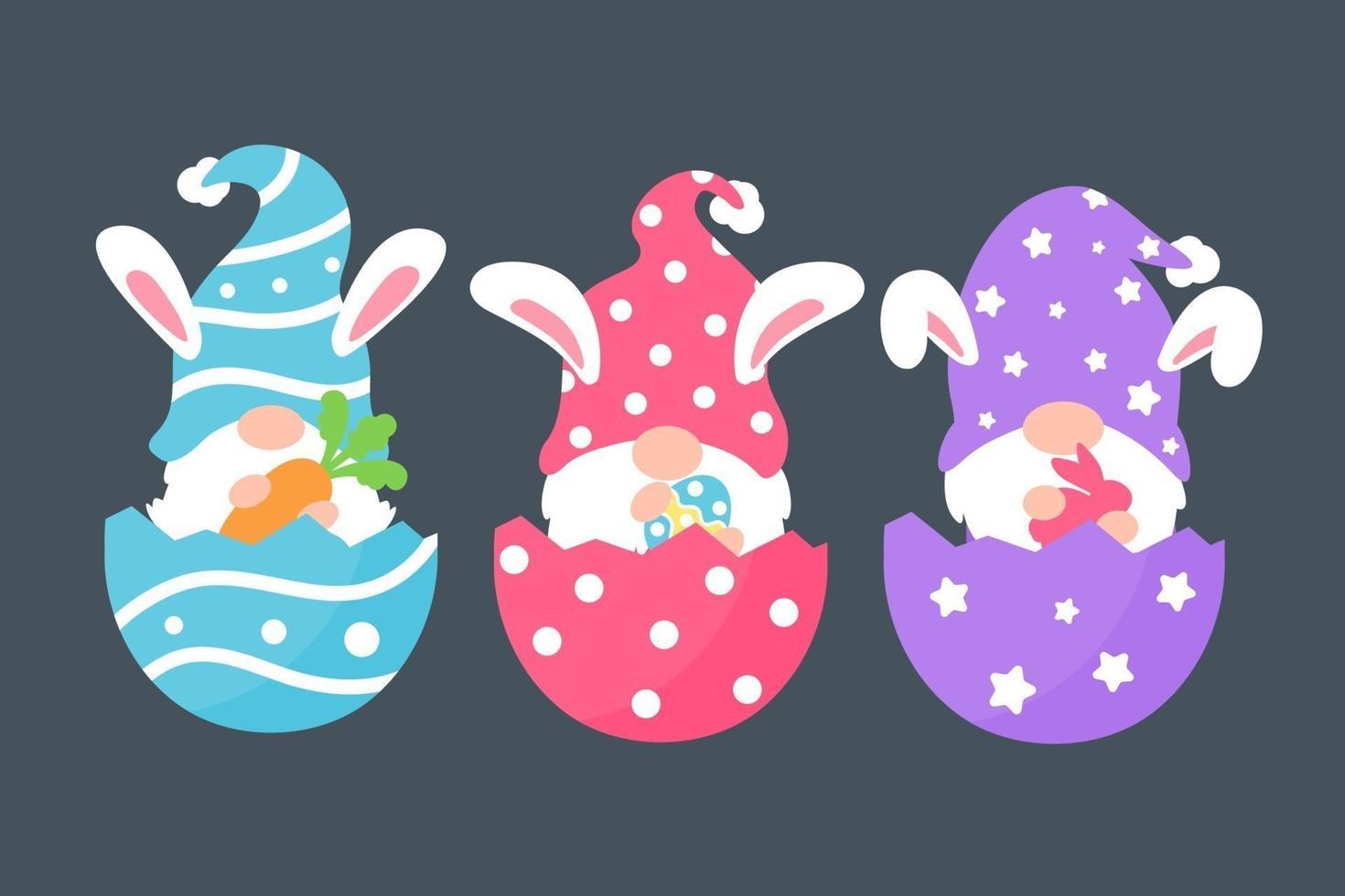 gnomos fofos usando orelhas de coelho segurando cenouras em ovos vetor