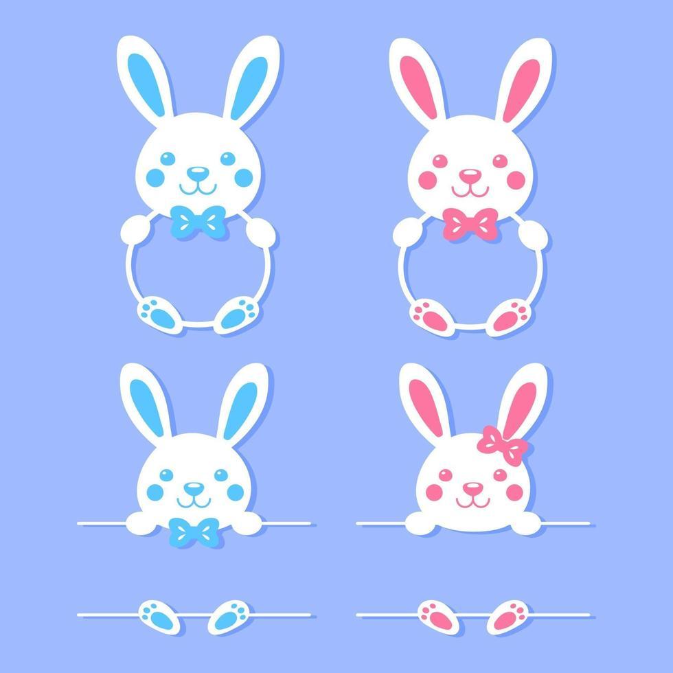 conjunto de moldura branca de coelho de desenho animado vetor