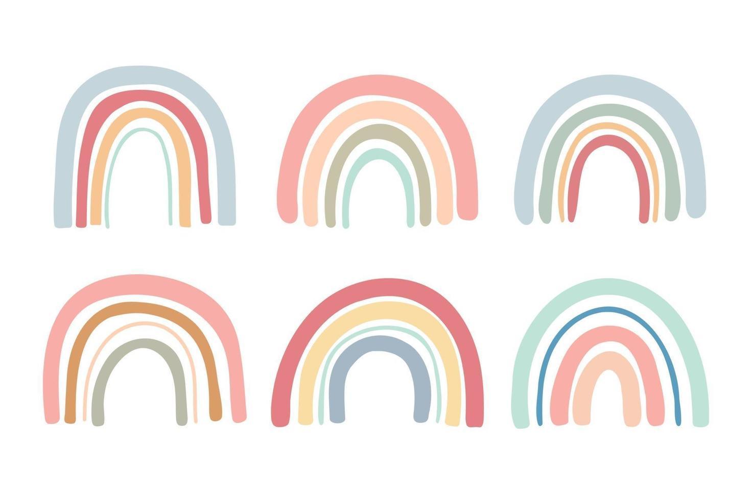 Conjunto de ponte de arco-íris desenhada à mão em cores pastel vetor