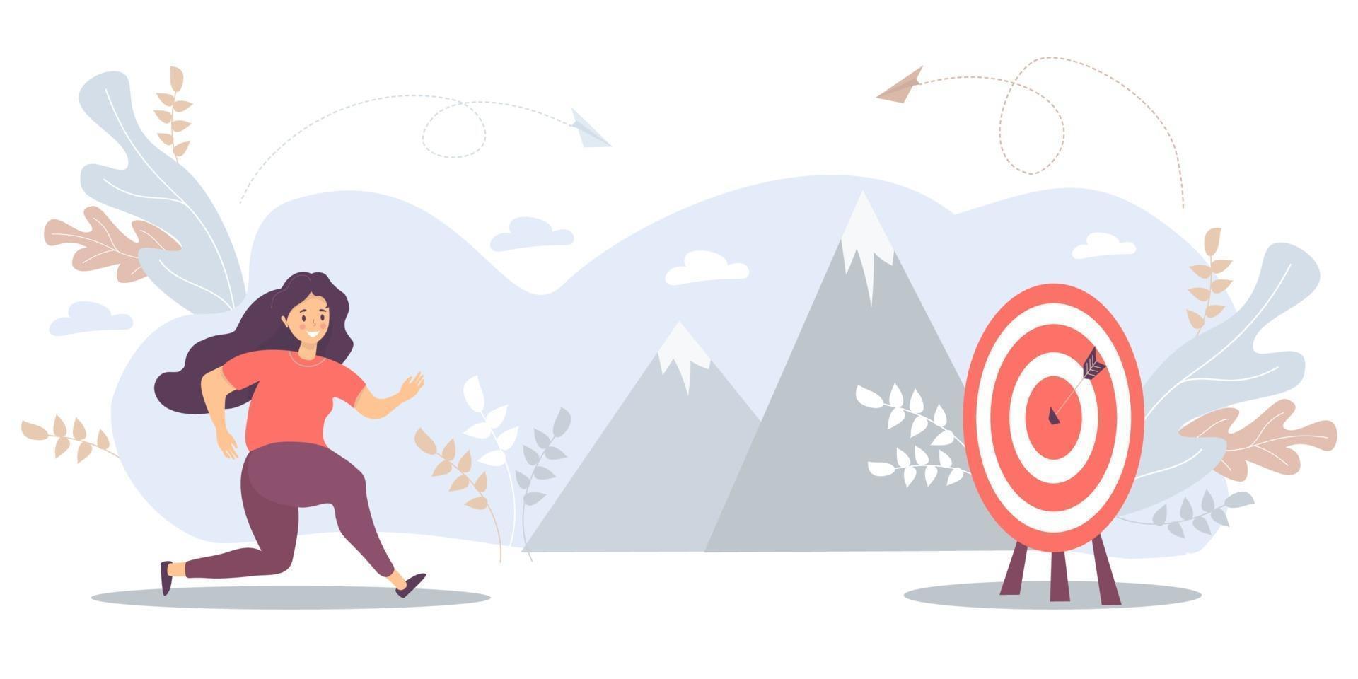 uma mulher corre para o seu alvo, move-se na motivação para a meta, no caminho para o auge do sucesso. ilustração vetorial para tarefa, objetivo, realização, negócio, marketing e conceito de negócio vetor