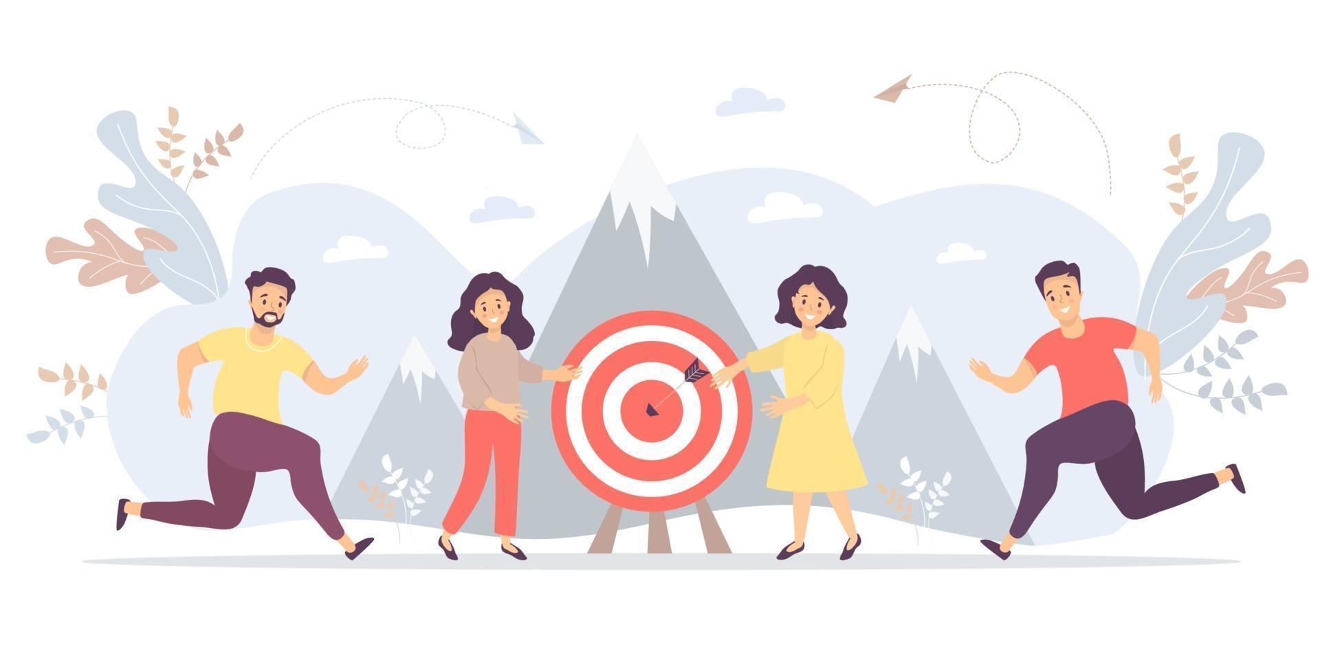 conceito de negócio - as pessoas estão se movendo em direção ao objetivo, movimento e motivação em direção ao auge do sucesso. vetor. para trabalho em equipe e parceiros, objetivos e realizações, conceitos de negócios e marketing vetor
