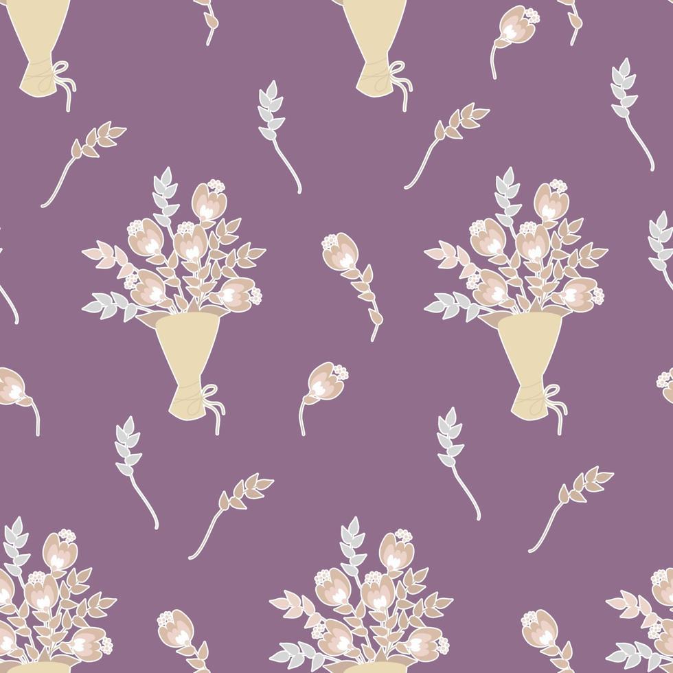 padrões sem emenda. buquê de flores, brotos, ramos e folhas em um fundo rosa escuro. ilustração vetorial. adesivos de flores botânicas para decoração de natal, dia dos namorados, decoração e decoração vetor