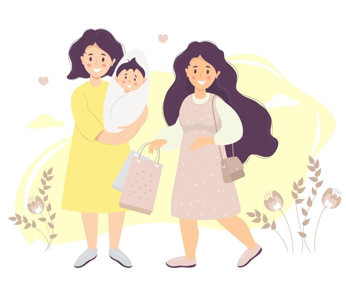 maternidade. mãe de vestido tem um filho recém-nascido nos braços. ao lado dela está uma garota com cabelo comprido e pacotes nas mãos contra um fundo de plantas. ilustração vetorial. família lgbt feminina feliz vetor