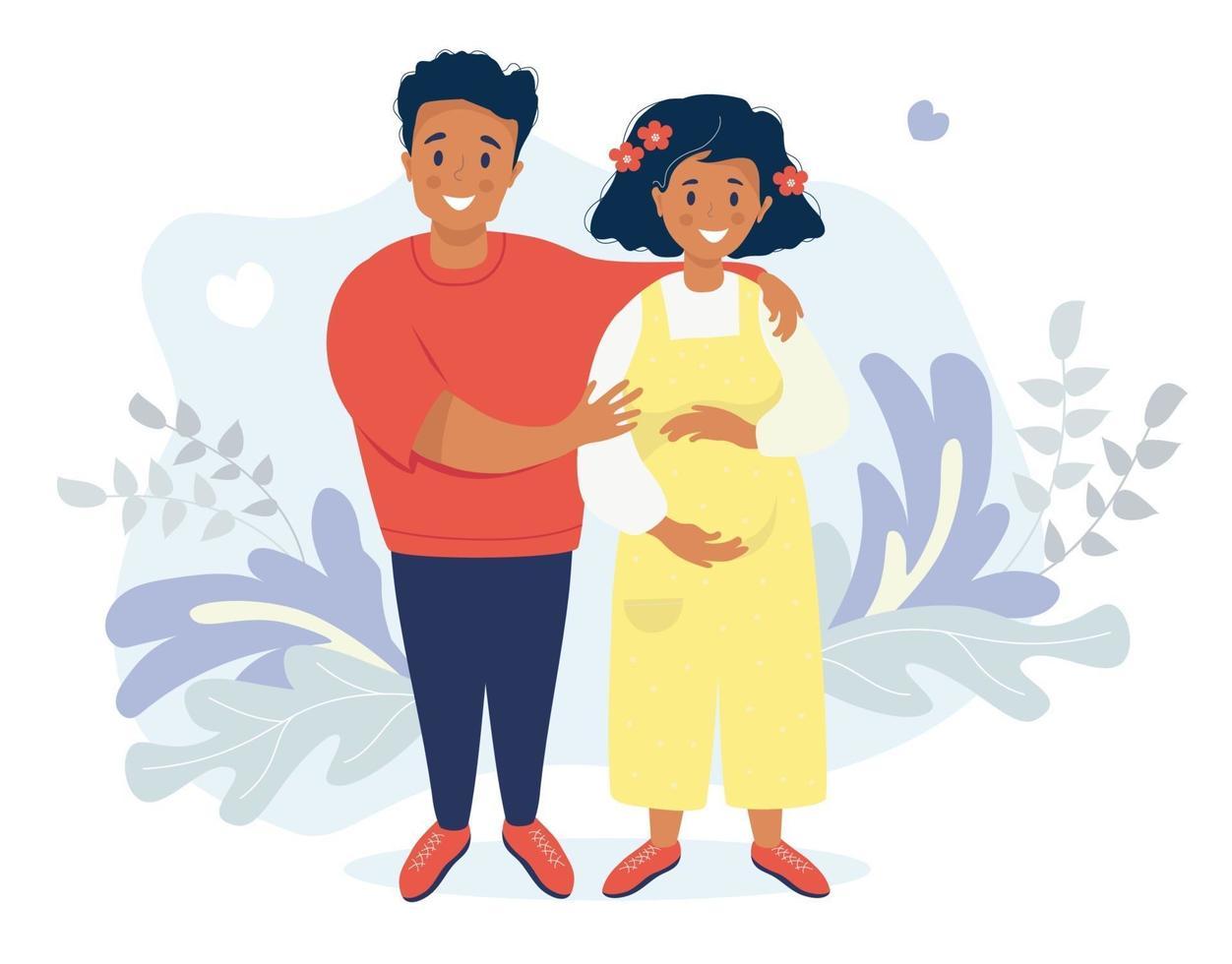 vetor plana de família feliz. feliz mulher grávida de macacão amarelo, acariciando sua barriga com as mãos. o marido a abraça. vetor. em um fundo com folhas tropicais