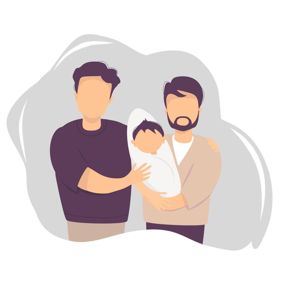 casal gay masculino adotando um bebê. dois homens felizes segurando o filho recém-nascido. ilustração vetorial. família lgbt feliz com filho recém-nascido. paternidade, creche, conceito de banner, design de site vetor