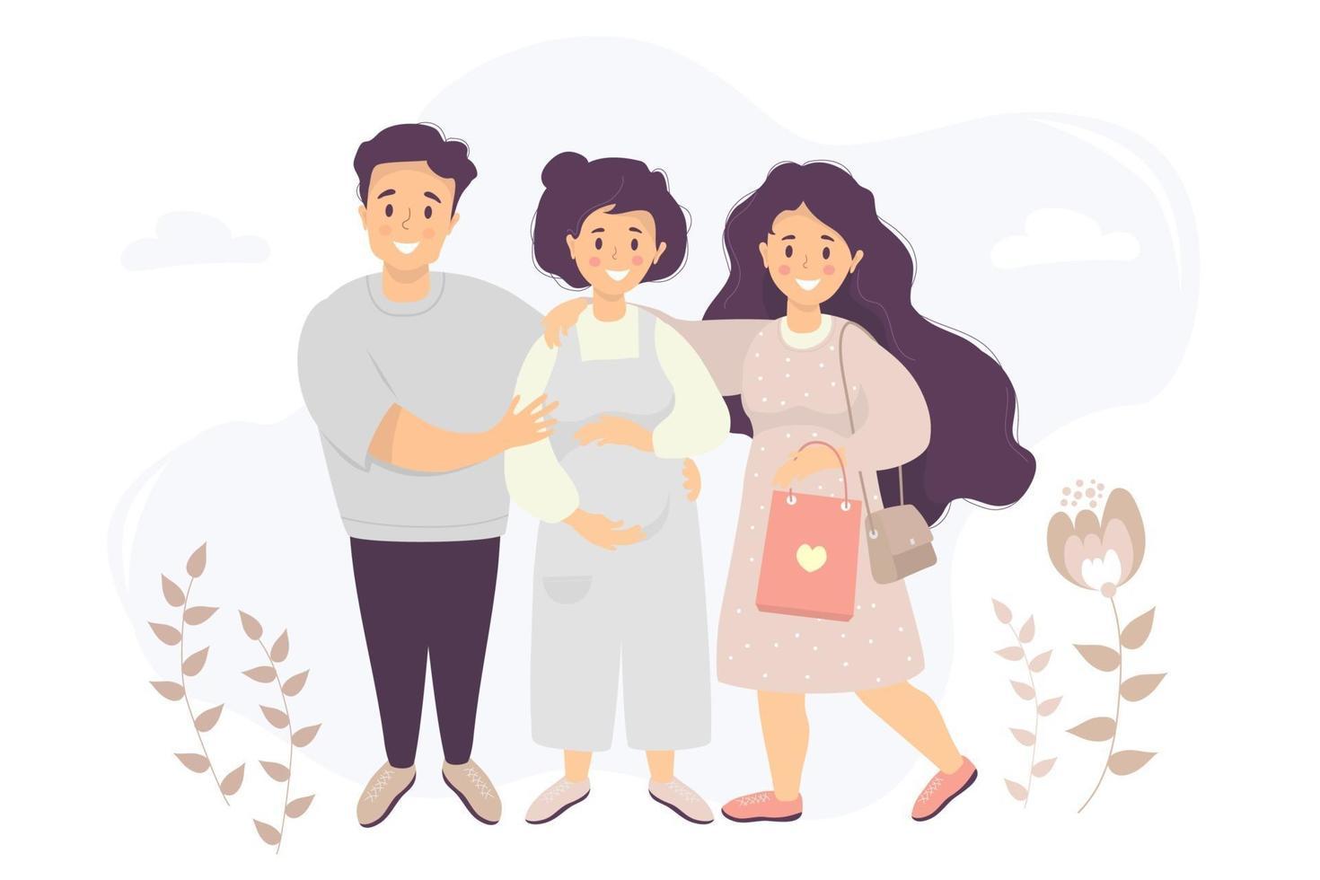vetor plana de família feliz. mulher grávida de macacão acaricia a barriga com as mãos. o marido se levanta e a abraça. perto de uma garota com um pacote nas mãos em um fundo. ilustração em vetor plana