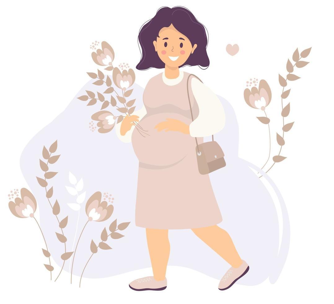 maternidade. mulher grávida feliz em um vestido rosa, sorrindo com uma mão, abraçando suavemente sua barriga e segurando um buquê de flores com a outra. ela ama. vetor. ilustração plana vetor