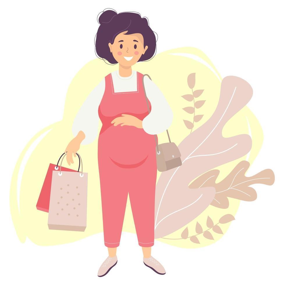 maternidade. uma feliz mulher grávida de macacão vermelho abraça carinhosamente a barriga com uma das mãos e segura sacolas da loja na outra. a bolsa da mulher está pendurada no ombro. vetor. ilustração plana vetor