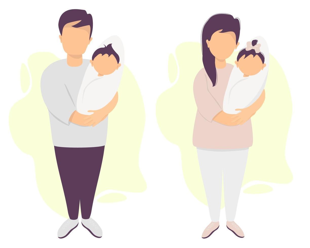 pais felizes com um bebê. um homem e uma mulher de calças estão de pé e segurando um filho recém-nascido e uma filha. vetor. conjunto de personagens. ilustração plana para design, decoração, impressão, cartões postais vetor