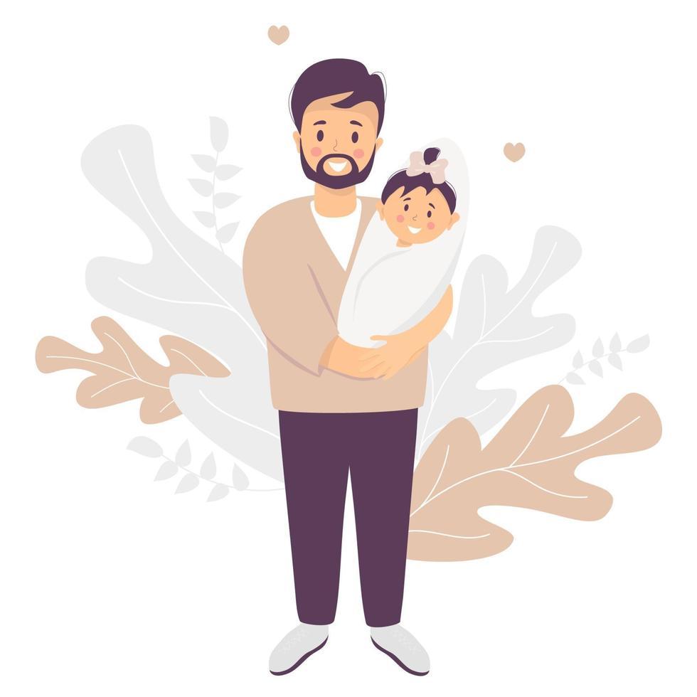 pai feliz. homem sorridente com uma filha recém-nascida nos braços. fica em um fundo decorativo de folhas tropicais. ilustração vetorial. família feliz - jovem pai e bebê. ilustração plana vetor