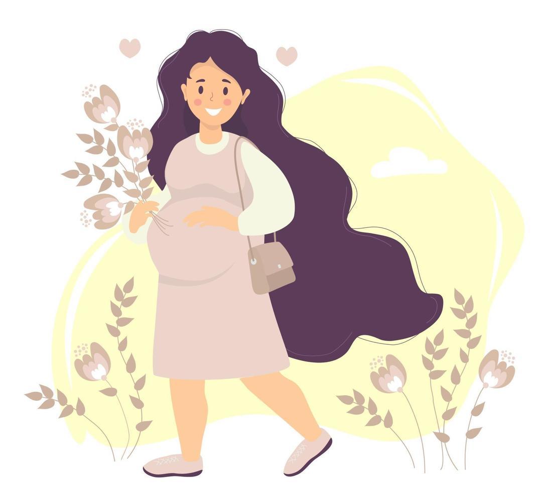 futura maternidade. feliz mulher grávida com cabelo comprido em vestido abraça suavemente sua barriga com uma mão e segura um buquê de flores com a outra. uma bolsa está pendurada no ombro. ilustração vetorial vetor