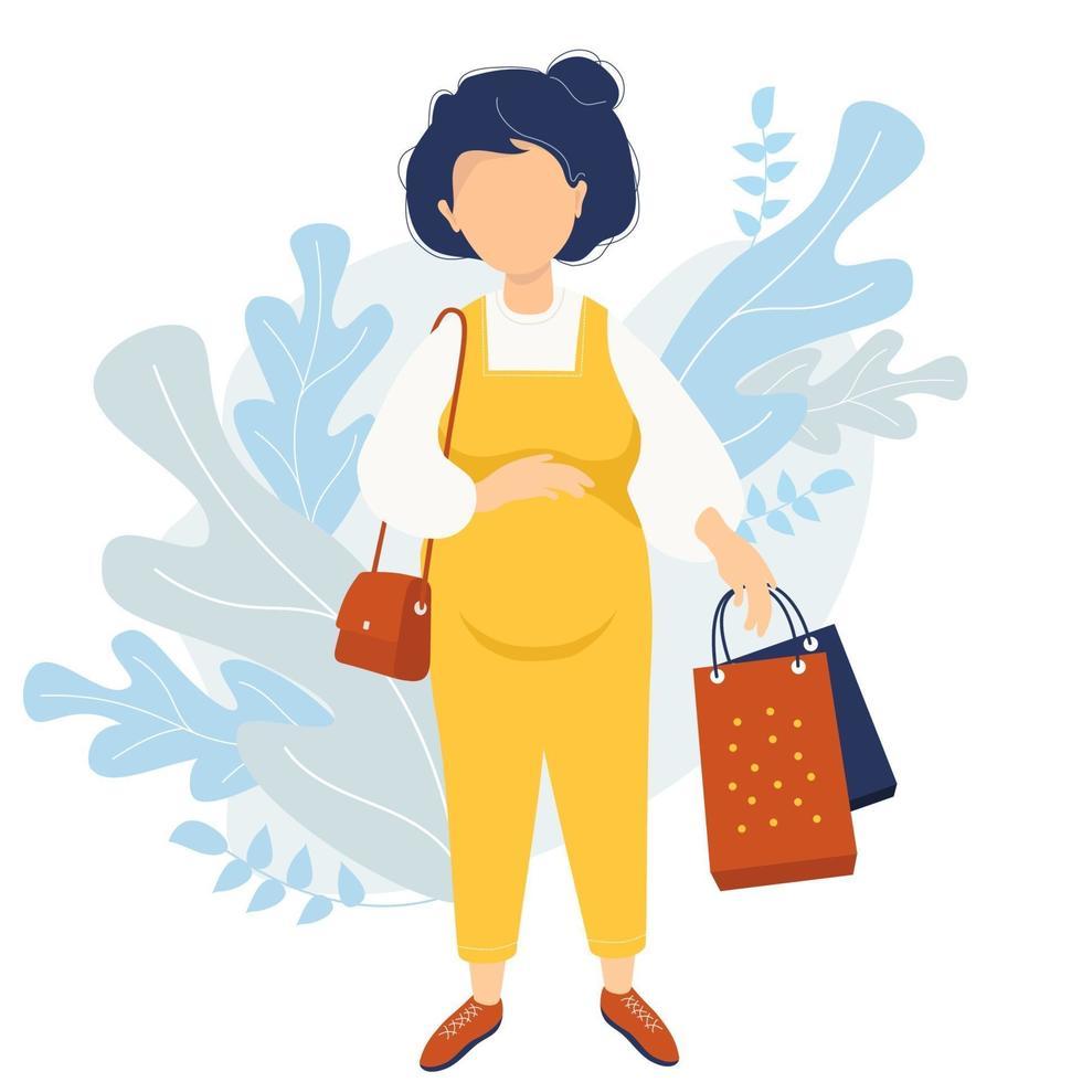 maternidade e compras. feliz mulher grávida em um macacão amarelo, com ternura, abraça a barriga com uma das mãos e segura as sacolas da loja com a outra. uma pequena bolsa pendurada no ombro. ilustração vetorial vetor