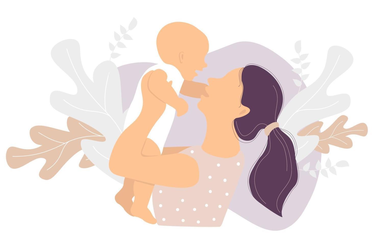 maternidade. mulher feliz e uma criança pequena nos braços no contexto de uma decoração tropical de folhas e plantas. ilustração vetorial. conceito - nova vida e mãe e bebê felizes. ilustração plana vetor