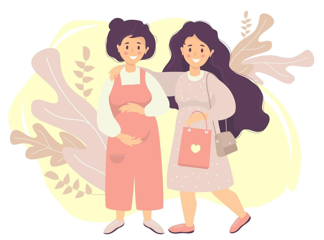 maternidade e feliz família lgbt feminina. uma mulher grávida de macacão acaricia a barriga com as mãos. ela é abraçada por uma garota de cabelo comprido e uma bolsa nas mãos. ilustração em vetor plana
