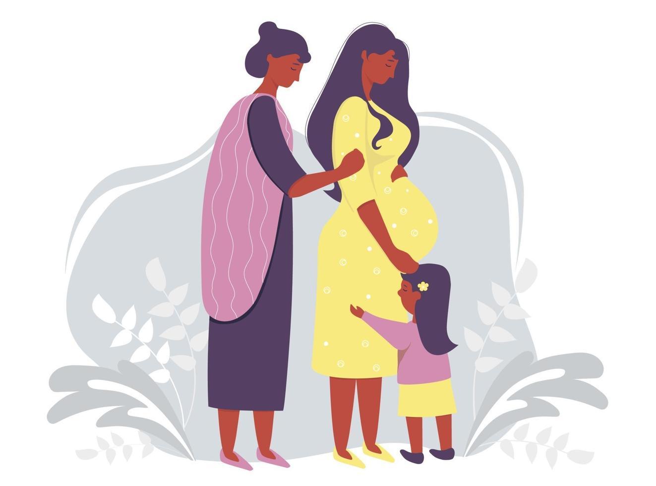 maternidade e família étnica. feliz mulher grávida de pele escura em um vestido amarelo abraça suavemente sua barriga. ao lado dela está uma mulher mãe e filha em um fundo cinza decorativo. ilustração vetorial vetor