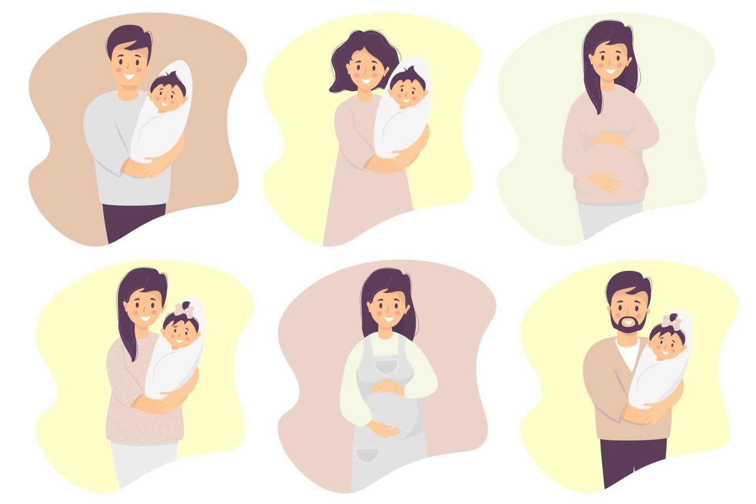conjunto de vetores plana de família feliz. felizes e sorridentes, uma mulher grávida, pai e mãe com um bebê recém-nascido nos braços - um filho e uma filha. vetor. isolado. ilustração plana