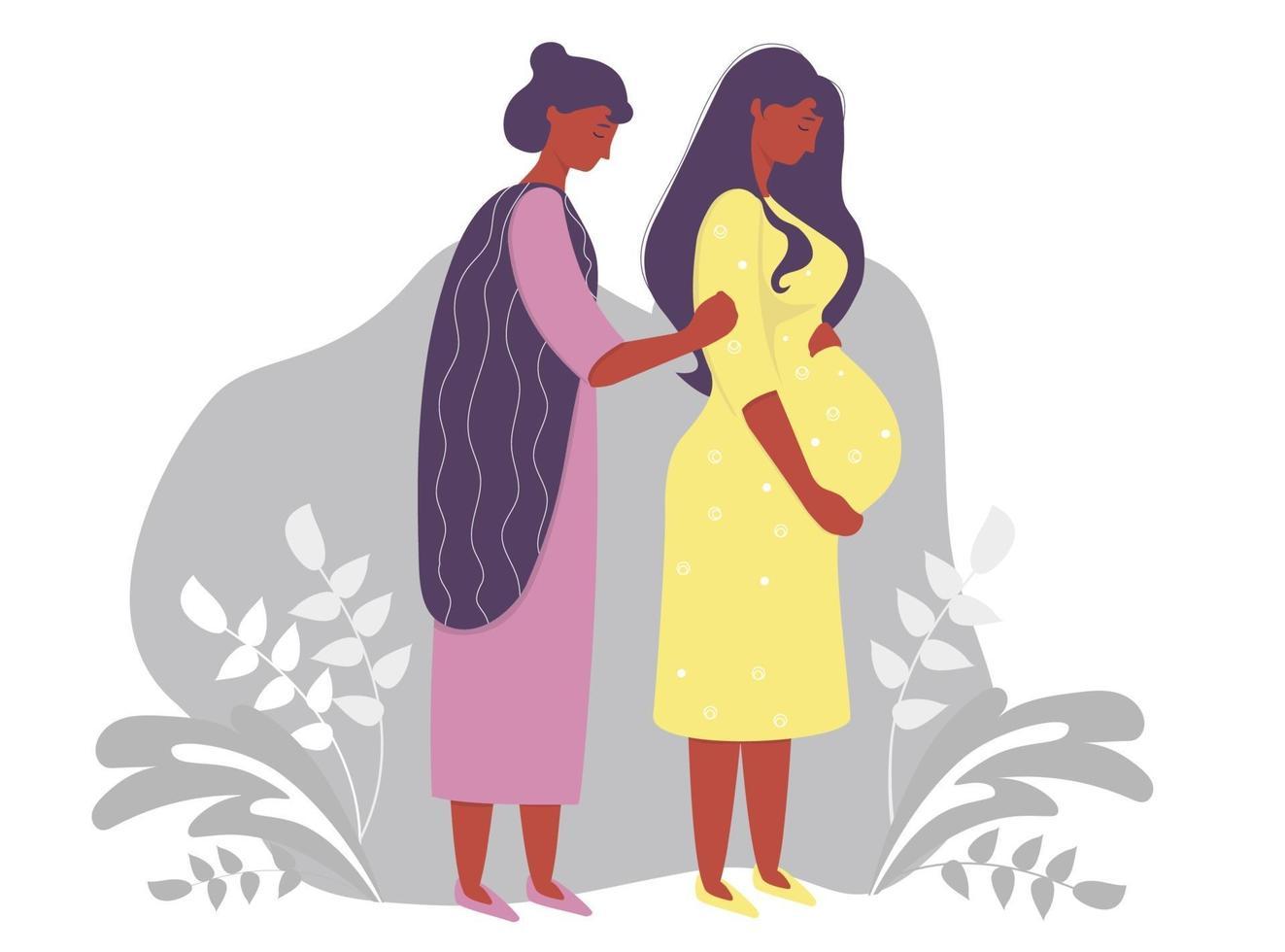 maternidade. feliz mulher grávida de pele escura em um vestido amarelo, abraça ternamente sua barriga e ao lado dela está uma mulher mãe. sobre um fundo cinza decorativo com ramos e plantas. ilustração vetorial vetor