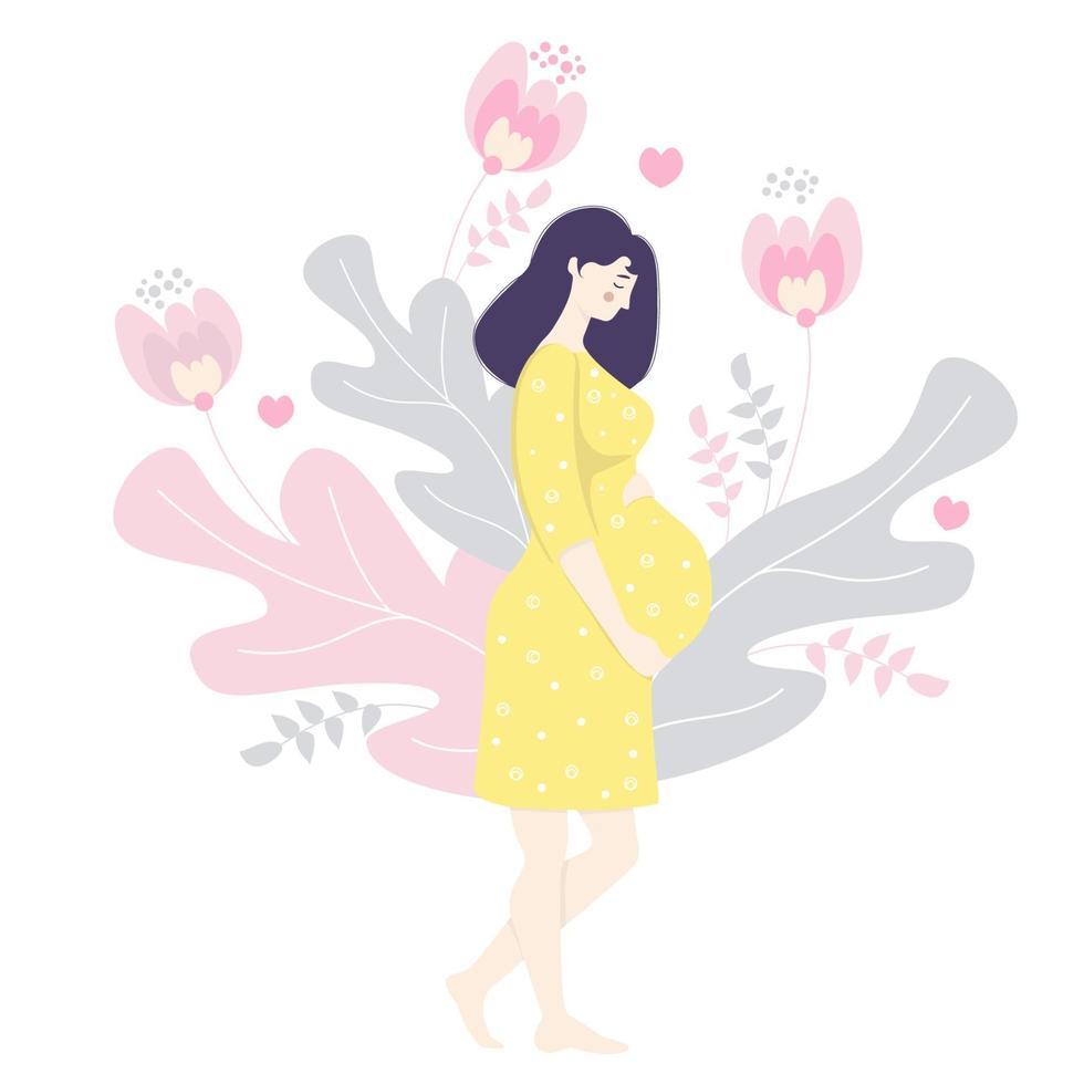 maternidade. mulher grávida feliz em um vestido amarelo com as mãos abraços suavemente a barriga. fica descalço no contexto de folhas decorativas, flores e corações. vetor. ilustração plana vetor