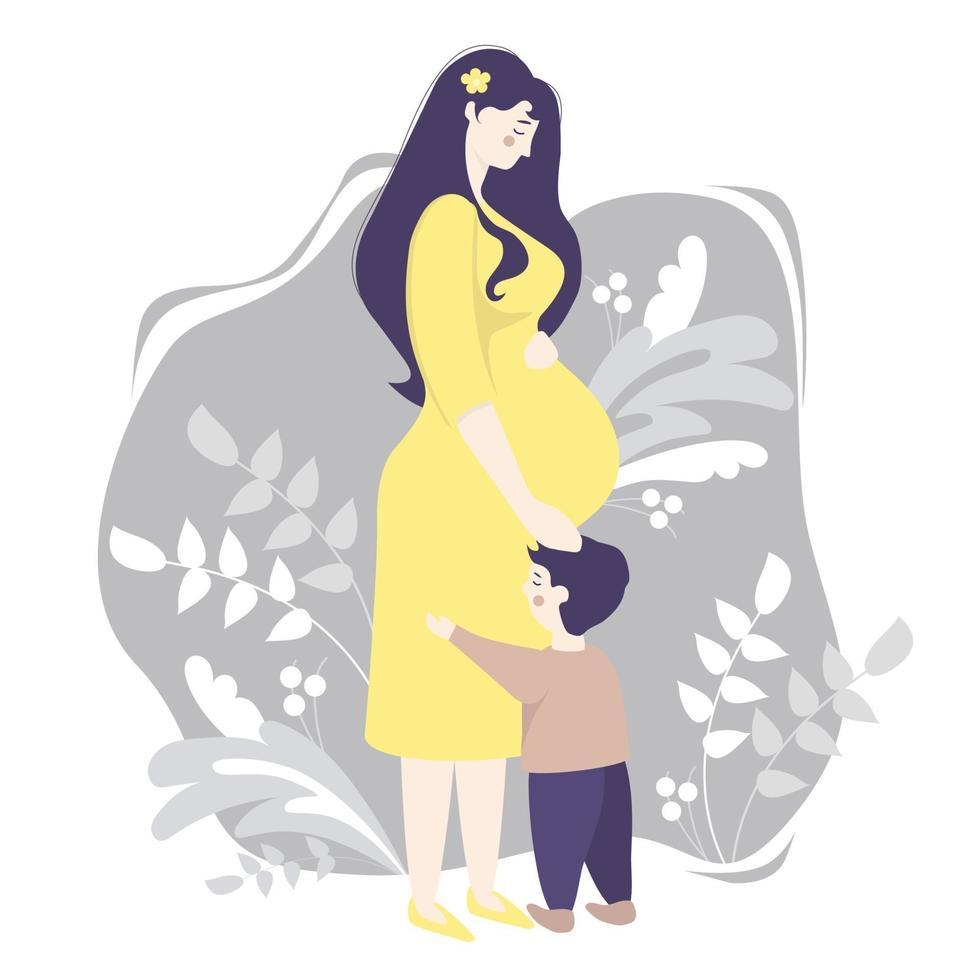 maternidade. mulher grávida feliz em pleno crescimento em um vestido amarelo, abraça ternamente sua barriga e um filho pequeno parado por perto. fundo cinza, decorado com ramos e plantas. ilustração vetorial vetor