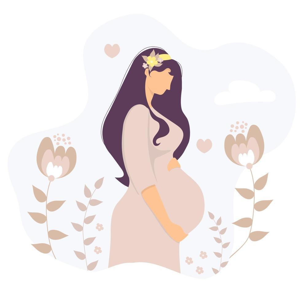 maternidade. mulher grávida feliz com um buquê de flores no cabelo abraça suavemente a barriga com as mãos. no fundo das plantas, folhas, flores, corações e nuvens. ilustração vetorial vetor
