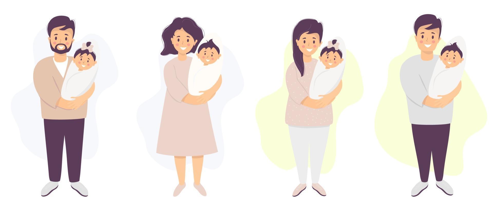 pais felizes com um bebê. um homem e uma mulher estão de pé e segurando seu filho recém-nascido e filha. ilustração vetorial. conjunto de ilustração de characters.flat para design, decoração, impressão e cartões postais vetor