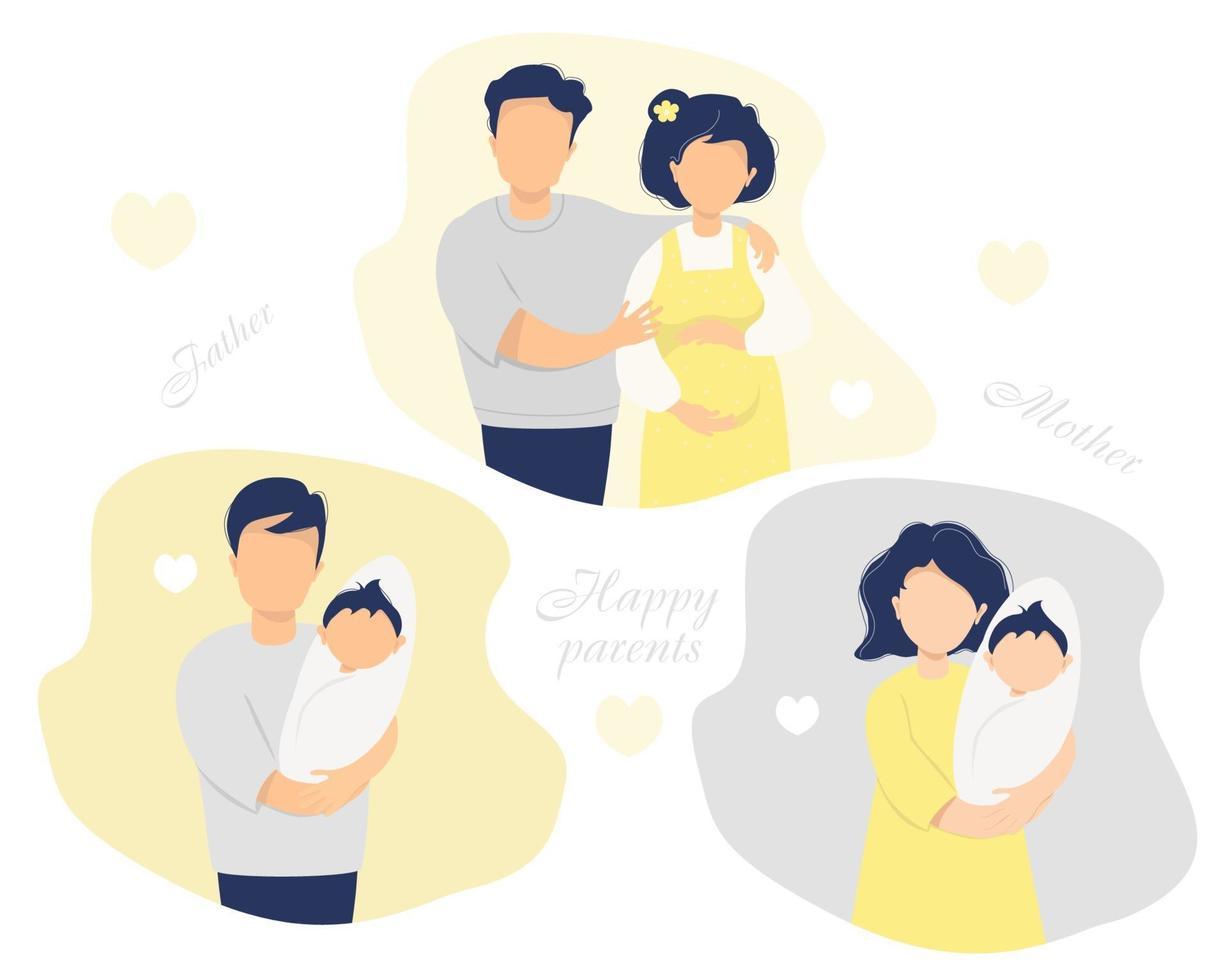 conjunto de vetores plana de família feliz. marido com uma esposa grávida em roupas amarelas, pais felizes - pai e mãe com um bebê recém-nascido nos braços. ilustração vetorial. isolado. ilustração plana