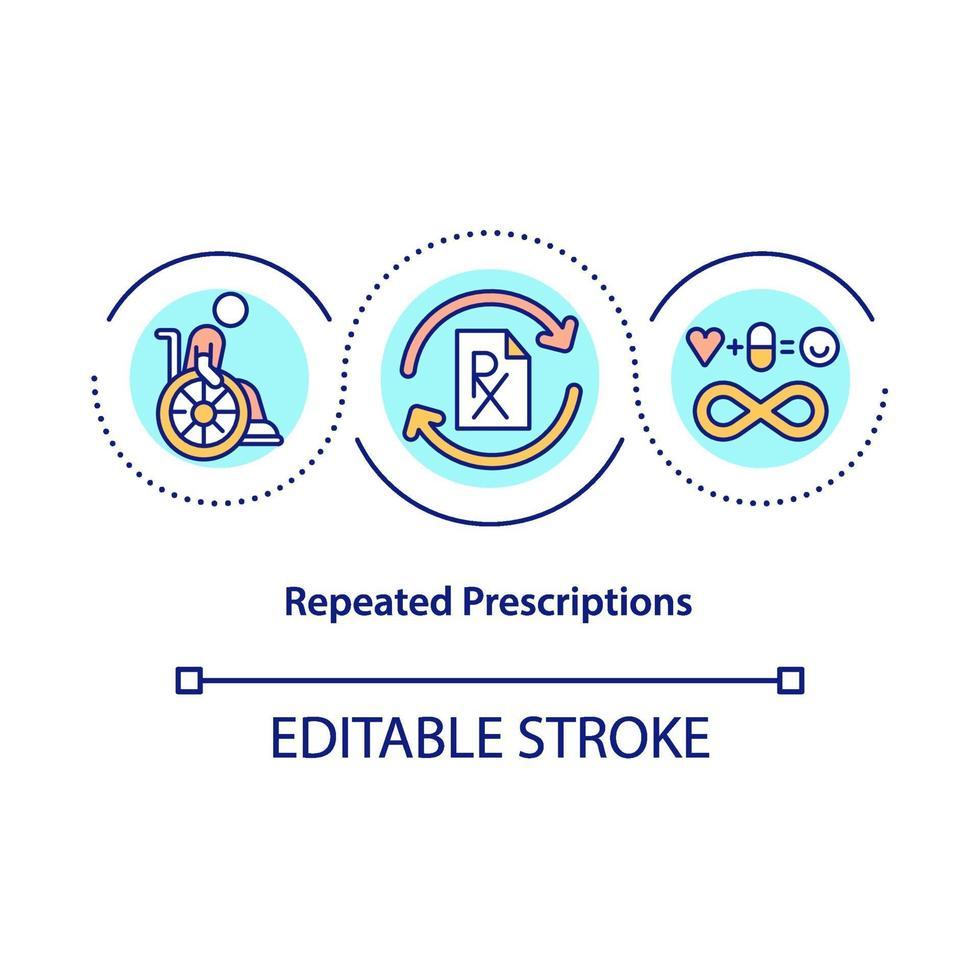 ícone do conceito de prescrições repetidas vetor