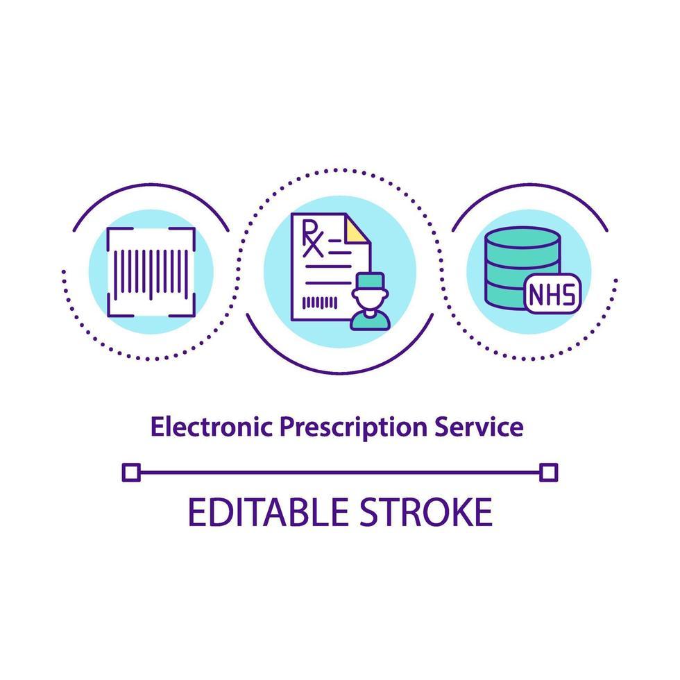 ícone de conceito de serviço de prescrição eletrônica vetor