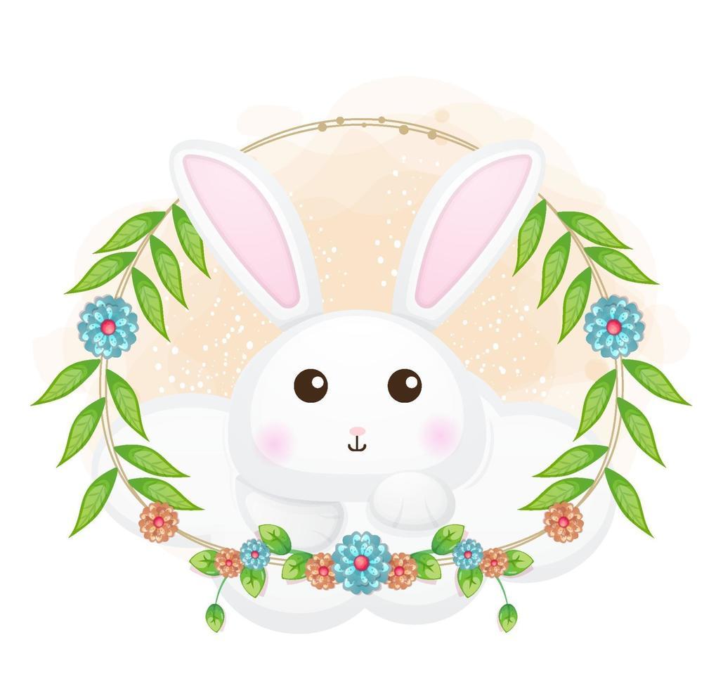 coelhinho fofo na nuvem com ilustração floral dos desenhos animados. animais com coleção floral vetor