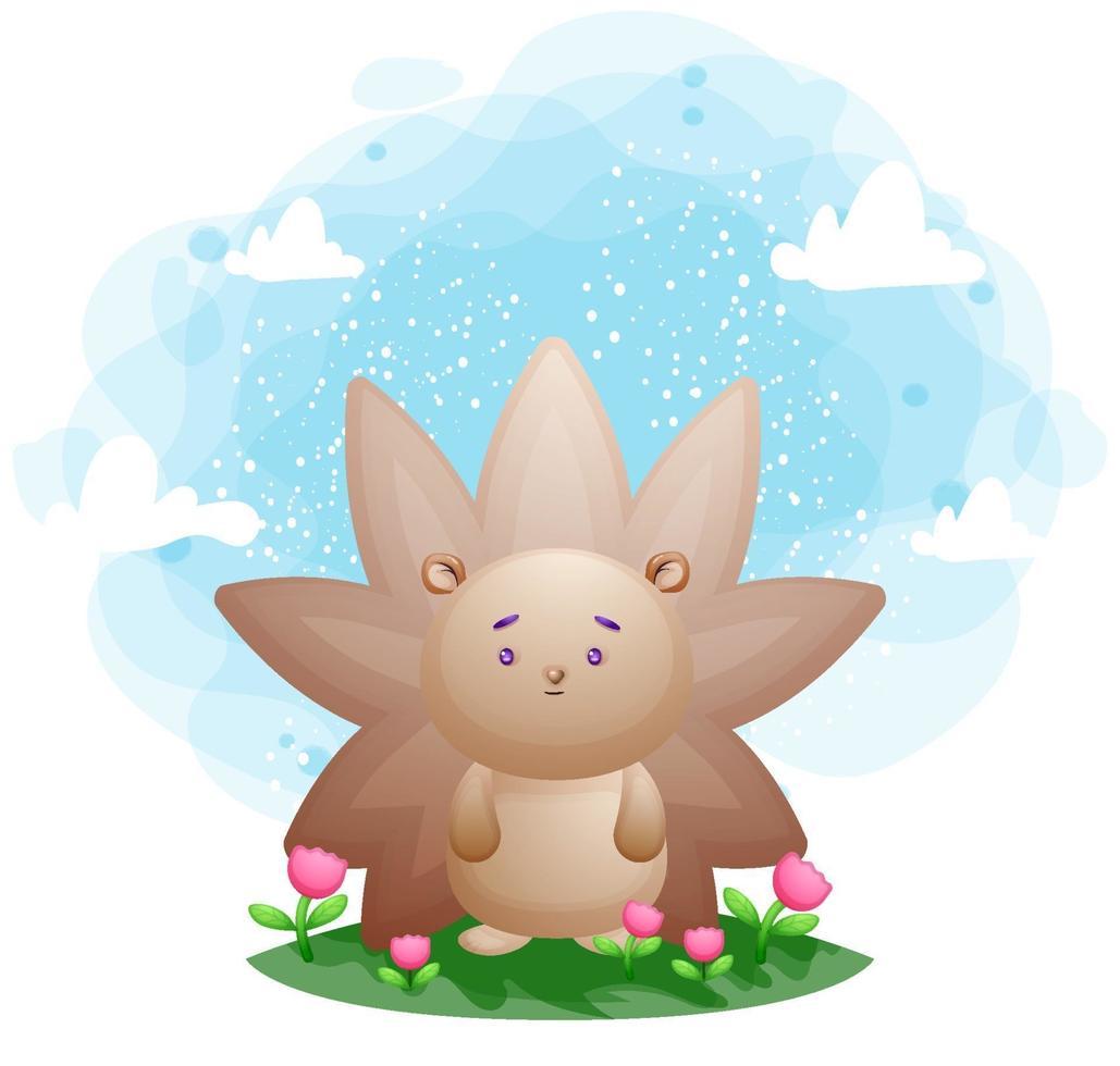 porco-espinho fofo na grama personagem de desenho animado vetor