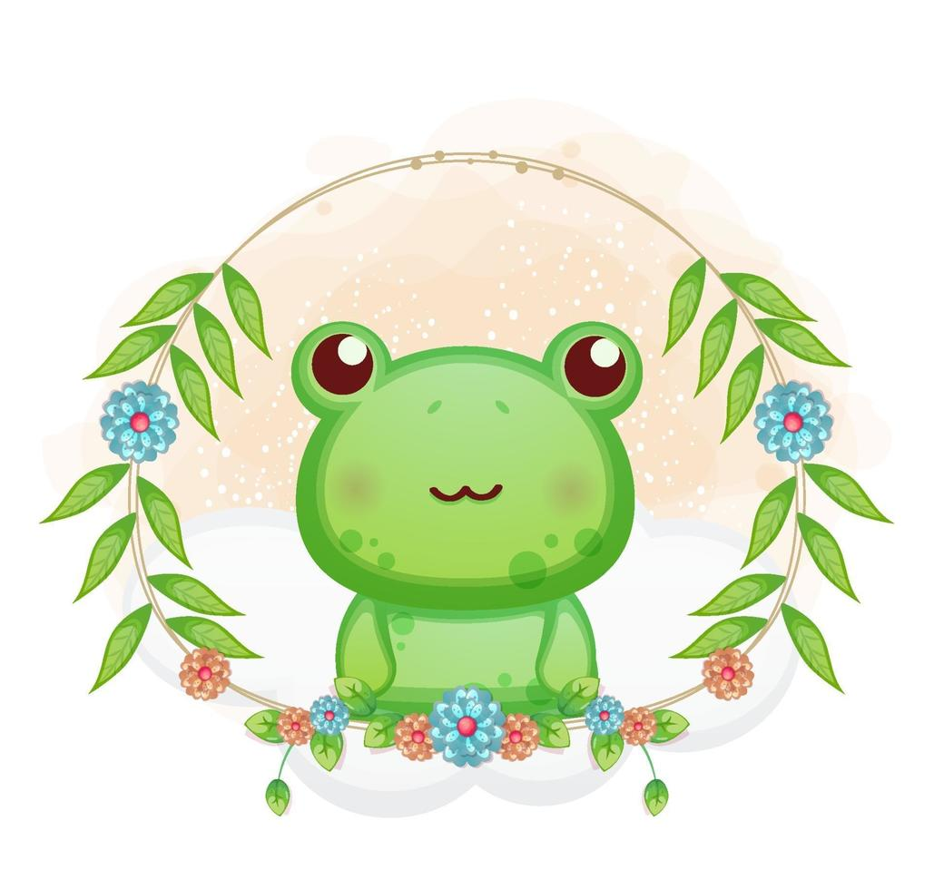 sapinho bonito com ilustração floral dos desenhos animados. animais com coleção floral vetor