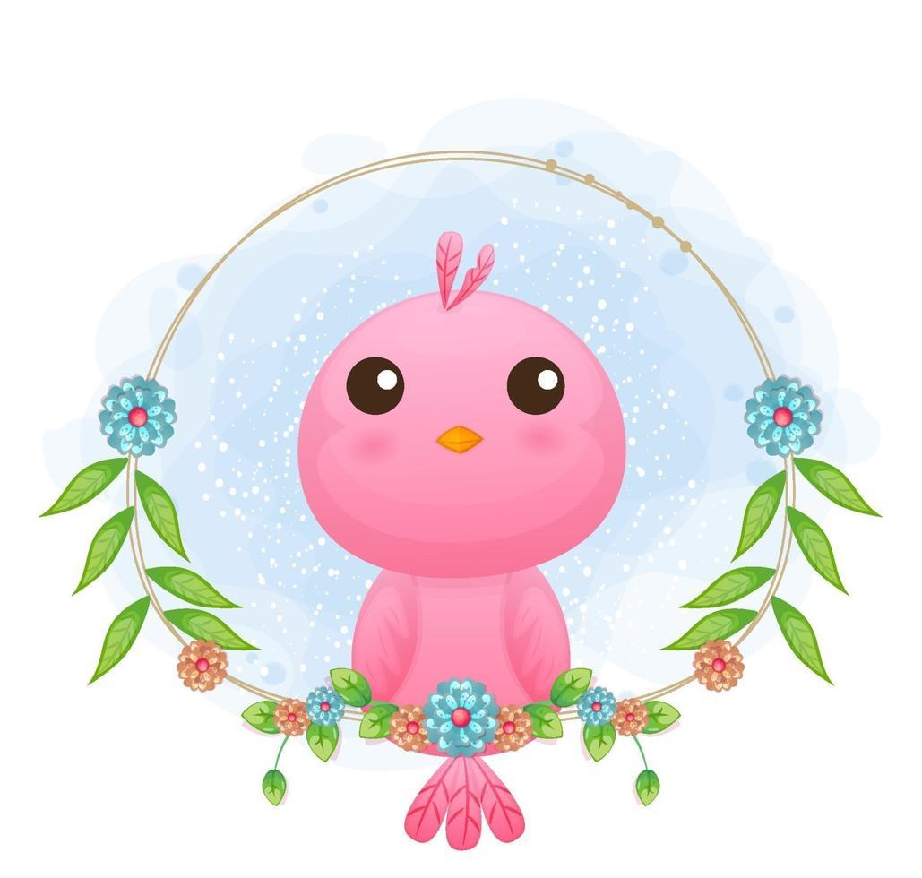 passarinho bonito com ilustração floral dos desenhos animados. animais com coleção floral vetor